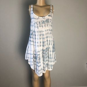 Blue life tie die tunic low back cut top size XS